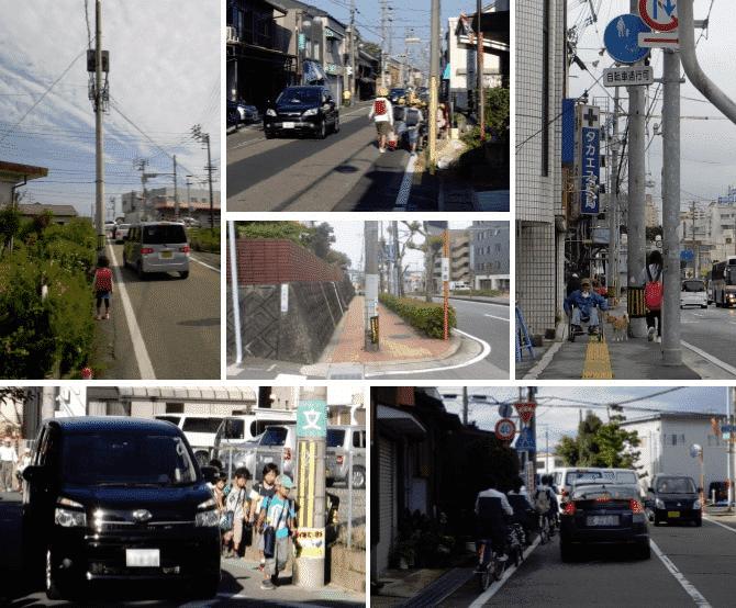 交通の妨げになる電柱画像