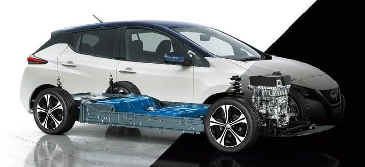 ボディからモーターやバッテリーが透けて見える新型日産リーフの透視図。