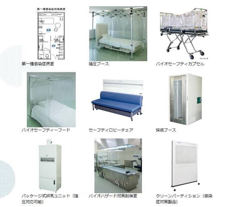 日本エアーテックの感染症対策製品