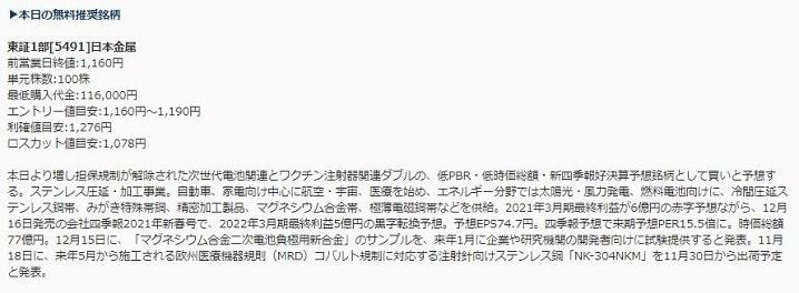 新生ジャパン投資が注目した銘柄「日本金属」